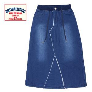 アンティバルリスティック スカート レディース デニムスカート ブルー ロング丈 裏起毛 204AN2SK012|streetbros