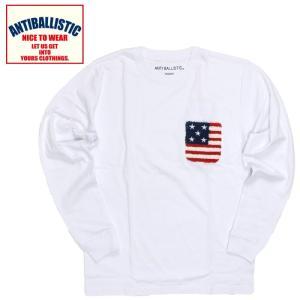 アンティバルリスティック メンズロングスリーブTシャツ 綿100% 星条旗 刺繍 白色 ホワイト|streetbros