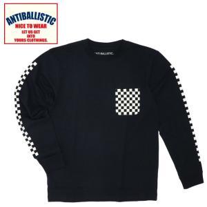 アンティバルリスティック ロングスリーブTシャツ メンズ 黒色 ブラック チェッカーフラッグ柄 通販 販売 人気 即納 長袖Tシャツ|streetbros