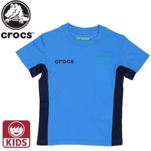 クロックス CROCS Tシャツ キッズ メッシュ ジュニア 半袖 119173 ブルー 男の子 女の子|streetbros