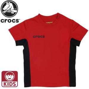 CROCS クロックス キッズ ジュニア 男の子 女の子 Tシャツ 半袖 119173 メッシュ レッド おとこの子  男児  男子 おすすめ 贈り物  ギフト プレゼント|streetbros