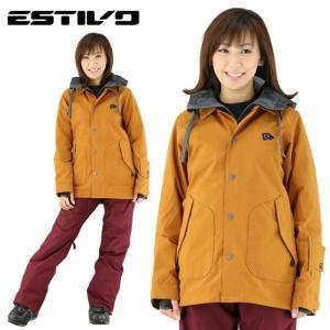 エスティボ スノーウェア 防水 ウェア スノボ レディース 暖かい ディライトジャケット アーモンド スキー|streetbros