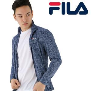 フィラ フロントジップ ラッシュ ネイビー FILA ジップ付き 紺色 軽量 長袖 吸水速乾 418332 UV 上着|streetbros