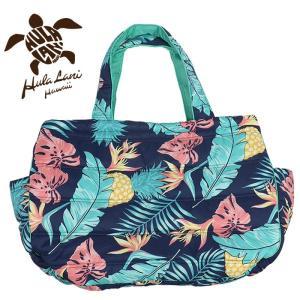 フララニ マザーズバッグ トートバッグ ハワイアンバッグ 大容量 旅行バッグ 軽量 かばん 紺 トロピカル柄 streetbros