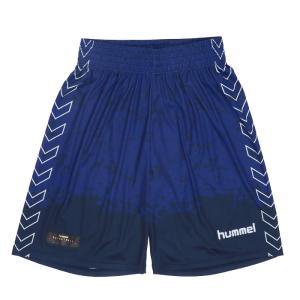 hummel 昇華プリント バスケット ハーフパンツ バスパン ネイビー ヒュンメル HAPB6021 プラクティスパンツ|streetbros