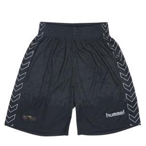 ヒュンメル バスパン HAPB6021 プラクティスパンツ 昇華プリント バスケット ブラック hummel ハーフパンツ|streetbros
