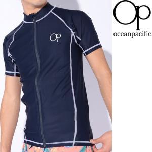 オーピー ラッシュガード 半袖 メンズ 前あきタイプ シンプル 紫外線対策 ネイビー 紺色|streetbros