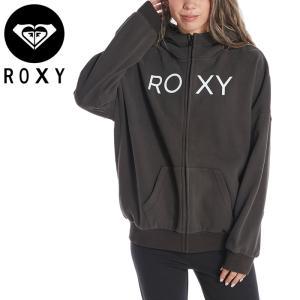 ロキシー レディース パーカー ジップアップ ロゴ スウェット ブラック オーバーサイズ ROXY RZP214048|streetbros