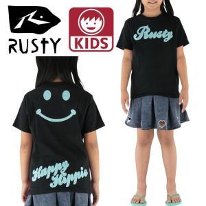 RUSTY キッズ半袖Tシャツ スマイル柄刺繍 90-150cm ロゴ 黒色 男女兼用 サーフブランド|streetbros