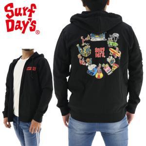 サーフデイズ ミーイシイ ポップ ジップアップパーカー メンズ 長袖 ブラック SURFDAYS 201SF1PK005|streetbros