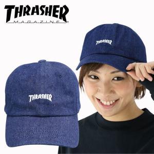デニム6パネルキャップ THRASHER ロゴ刺繍キャップ スラッシャー ローキャップ CAP 16TH-C25 帽子 streetbros