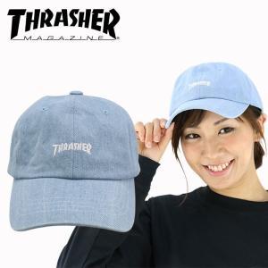 スラッシャー ローキャップ ライトデニム 6パネルキャップ THRASHER ロゴ刺繍キャップ CAP 16TH-C25 帽子 streetbros