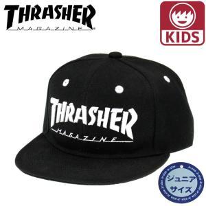 THRASHER(スラッシャー) ジュニア キッズサイズ キャップ 子供 帽子 平つば「17TH-C04K BLK」サイズ調整 ブラック 黒x白 CAP streetbros