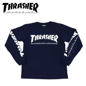 スラッシャー MAG SLEEVE ロンTシャツ ネイビー THRASHER ティーシャツ ロゴプリント TH8301-S streetbros