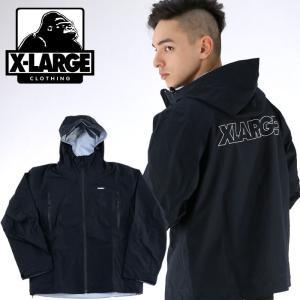エクストララージ ロゴ3レイヤージャケット 黒色 ナイロンジャケット XLARGE ブラック フードジャケット|streetbros