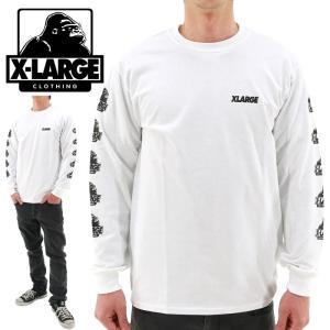 X-LARGE(エクストララージ) OGゴリラ 袖プリント 長袖Tシャツ ロンティー 白 LST OLD OG WHITE 01164127 ストリートファッション メンズ レディース 男性 女性 streetbros
