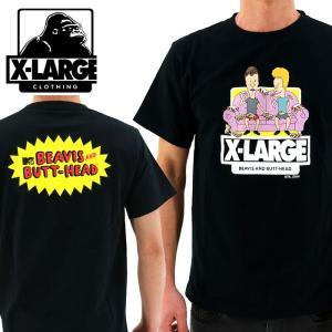 XLARGE(エクストララージ) xビーバス&バットヘッド コラボTシャツ 黒 「01171109 BLACK」半袖 半そで Tシャツ ティーシャツ streetbros