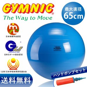 ギムニク バランスボール 65cm ブルー+ダブルアクションポンプ セット|stretchpole-shop