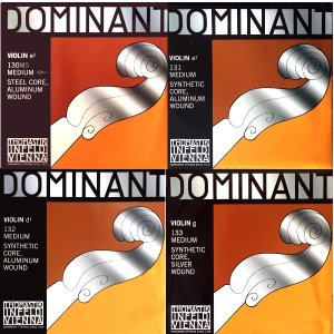 Violin弦 Dominant EADG線 4/4楽器用4弦Set 《E線アルミ巻 (Ball or Loop) :D線アルミ巻》  【Vn Dom EaADaG】