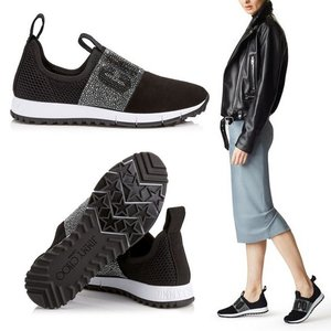 Black Mesh and Suede Trainers with Crystal Detaili...