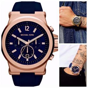 e49651bda7c0 国内即納 Michael Kors/マイケルコース メンズ 腕時計 Navy Dial Rose ゴールドxネイビー シリコン ストラップ Watch  MK8295