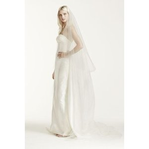 Two-tier Cathedral Length Veil with Raw Edge  チャペル...