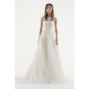 White by Vera Wang Illusion Neckline Wedding Dress...