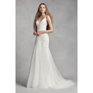 White by Vera Wang Plunging Sheath Wedding Dress  ...