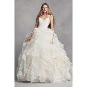 White by Vera Wang Organza Rosette Wedding Dress  ...
