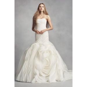 White by Vera Wang Bias-Tier Trumpet Wedding Dress...