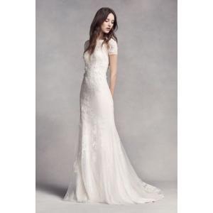 White by Vera Wang Short Sleeve Lace Wedding Dress...