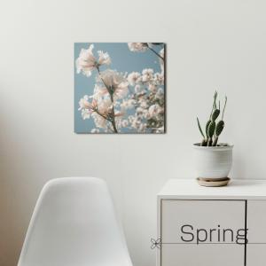 ファブリックパネル 桜 サクラ 春 お花 花 インテリア 北欧 30cm×30cm  ウォールアート キャンバス 壁インテリア|studio-canda