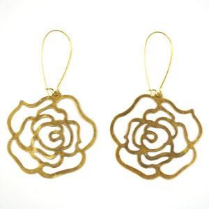 SALE 薔薇 真鍮 ピアス フープ 揺れる 和柄 花 studio-ichi