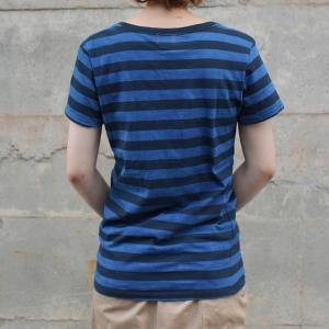 レディース 琉球藍染め ボーダー Tシャツ 半袖 可愛い 紺|studio-ichi|05