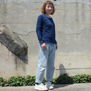 レディース 藍染め ロングスリーブ Tシャツ ロンT 長袖 薄手 着心地良い プレゼント ギフト クリスマス|studio-ichi|02