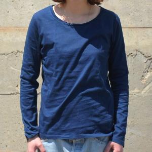 レディース 藍染め ロングスリーブ Tシャツ ロンT 長袖 薄手 着心地良い プレゼント ギフト クリスマス|studio-ichi|03