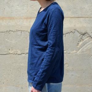 レディース 藍染め ロングスリーブ Tシャツ ロンT 長袖 薄手 着心地良い プレゼント ギフト|studio-ichi|04