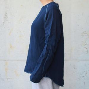 レディース 琉球 藍染め クルーネック カットオフ スウェット|studio-ichi|03