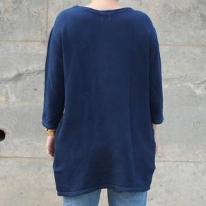 琉球藍染め スウェット ワンピース ミニ 裏毛 ふんわり 柔らかい可愛い チュニック|studio-ichi|05