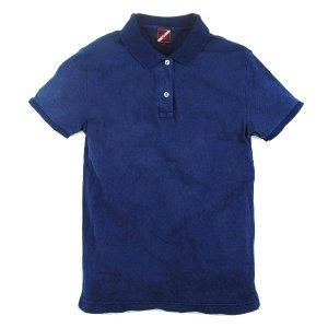 レディース 琉球 藍染め 半袖 ポロシャツ コットン インディゴ ギフト|studio-ichi|05