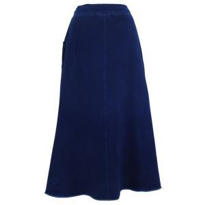 藍染め スウェット マキシスカート ロング ふんわり 暖かい 裏毛|studio-ichi|02
