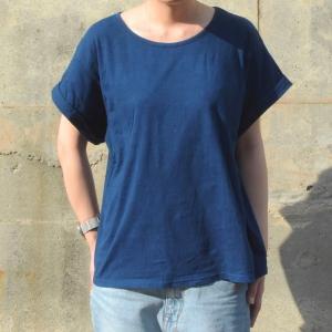 レディース 藍染め ロールアップ Tシャツ 半袖 ゆったり 大き目 シルエット カジュアル|studio-ichi|02