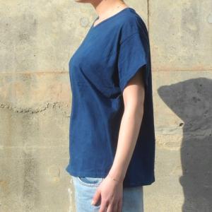 レディース 藍染め ロールアップ Tシャツ 半袖 ゆったり 大き目 シルエット カジュアル|studio-ichi|03