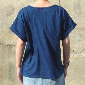 レディース 藍染め ロールアップ Tシャツ 半袖 ゆったり 大き目 シルエット カジュアル|studio-ichi|04