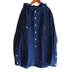 藍染め 長袖 シャツ パーカー メンズ フードシャツ アウター ジャケット|studio-ichi