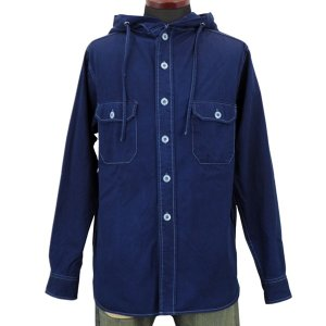 藍染め 長袖 シャツ パーカー メンズ フードシャツ アウター ジャケット|studio-ichi|02