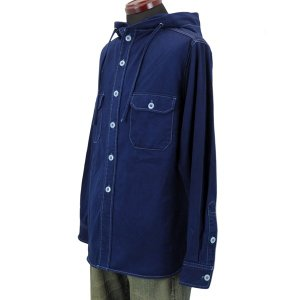 藍染め 長袖 シャツ パーカー メンズ フードシャツ アウター ジャケット|studio-ichi|03