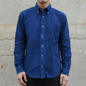 藍染め 長袖 シャツ メンズ ボタンダウン オックスフォードシャツ 襟付|studio-ichi|02