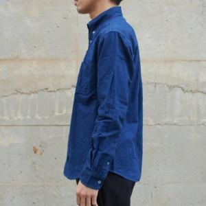 藍染め 長袖 シャツ メンズ ボタンダウン オックスフォードシャツ 襟付|studio-ichi|03