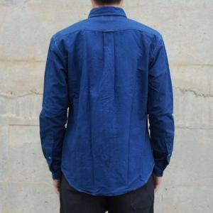 藍染め 長袖 シャツ メンズ ボタンダウン オックスフォードシャツ 襟付|studio-ichi|04